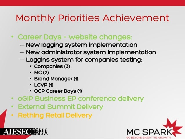 Monthly Priorities Achievement • Career Days – website changes:  – New logging system implementation – New administrato...