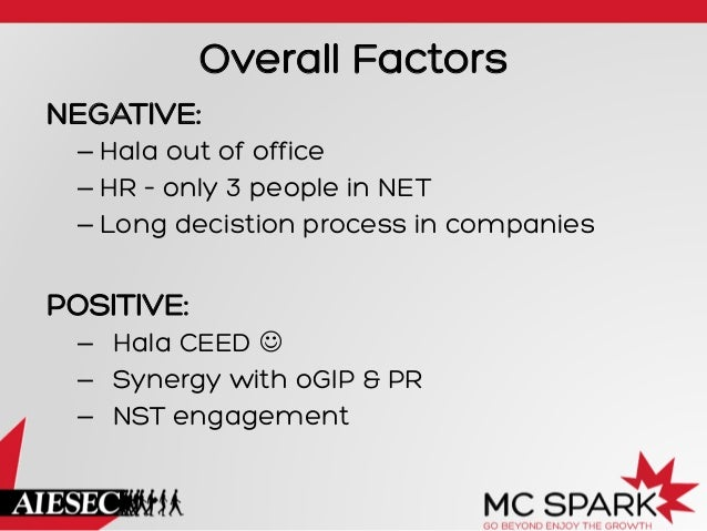 Overall Factors NEGATIVE: – Hala out of office – HR – only 3 people in NET – Long decistion process in companies  POSIT...