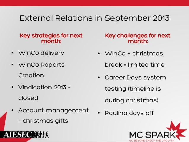 External Relations in September 2013 Key strategies for next month:  Key challenges for next month:  • WinCo delivery  •...