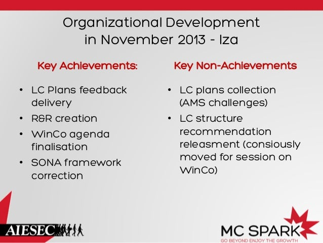 Organizational Development in November 2013 - Iza Key Achievements: • LC Plans feedback delivery • R&R creation • WinCo...