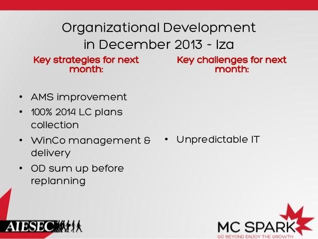 Organizational Development in December 2013 - Iza Key strategies for next month:  • AMS improvement • 100% 2014 LC plans...