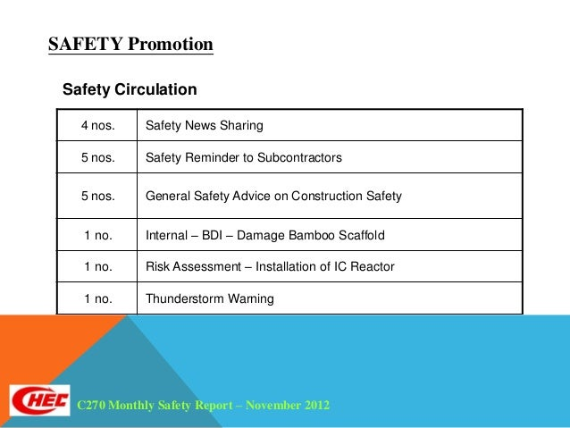 Monthly safety report 2012 11