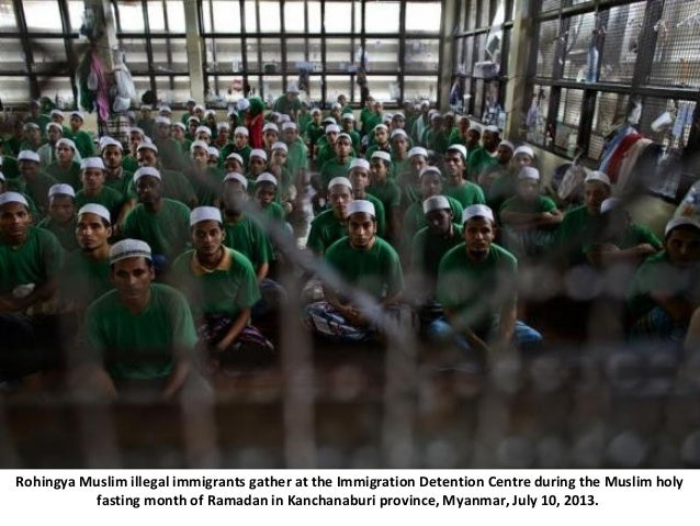 Rohingya Muslim illegal immigrants gather at the Immigration Detention Centre during the Muslim holy fasting month of Rama...