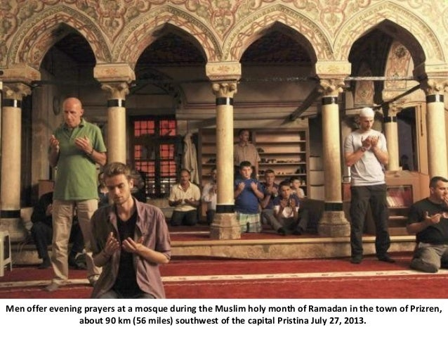 Men offer evening prayers at a mosque during the Muslim holy month of Ramadan in the town of Prizren, about 90 km (56 mile...