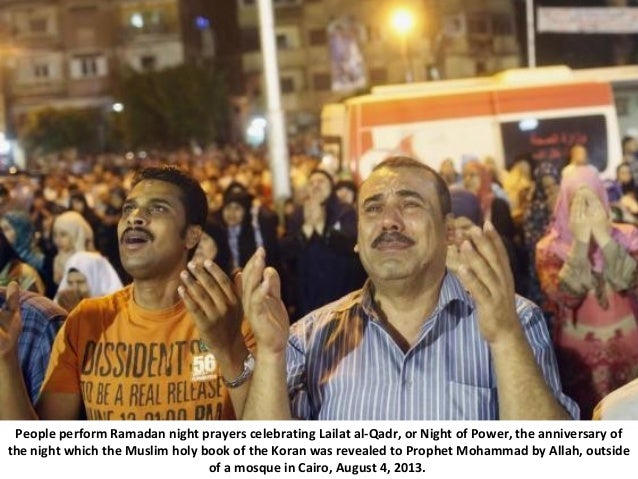 People perform Ramadan night prayers celebrating Lailat al-Qadr, or Night of Power, the anniversary of the night which the...