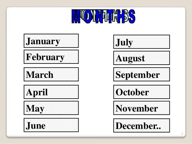 Meses Y Anos En Ingles