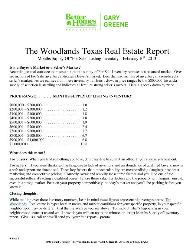 """The Woodlands Texas Real Estate Report                         Months Supply Of """"For Sale"""" Listing Inventory – February 10..."""