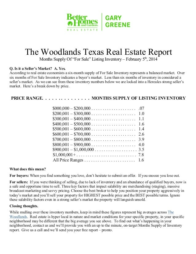 """The Woodlands Texas Real Estate Report Months Supply Of """"For Sale"""" Listing Inventory – February 5th, 2014  Q. Is it a Sell..."""