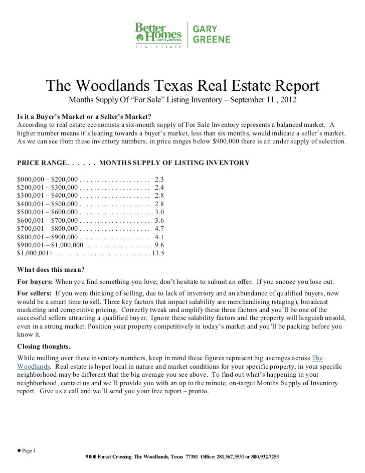 """The Woodlands Texas Real Estate Report                        Months Supply Of """"For Sale"""" Listing Inventory – September 11..."""