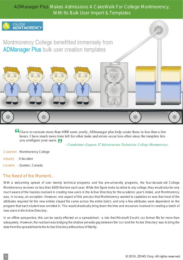 ADManager Plus Makes Admissions A CakeWalk For College Montmorency, With Its Bulk User Import & Templates  Montmorency Col...