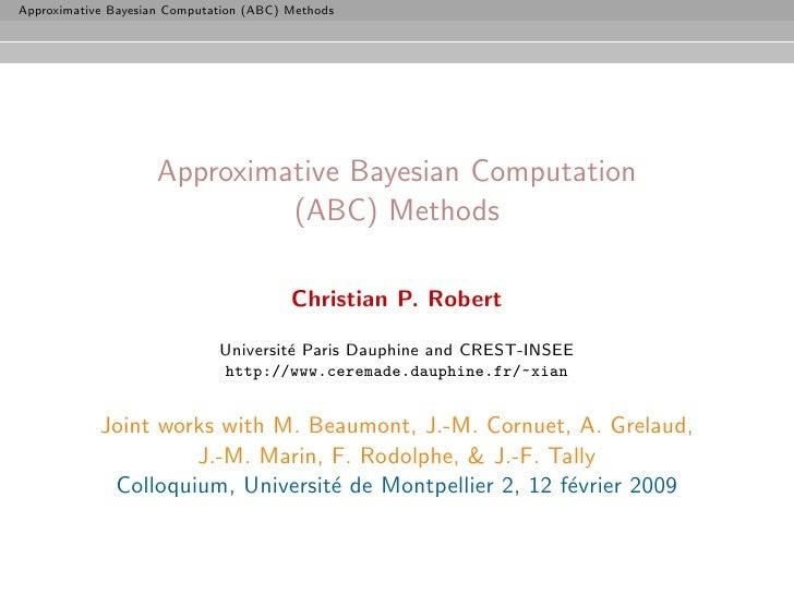 Approximative Bayesian Computation (ABC) Methods                          Approximative Bayesian Computation              ...