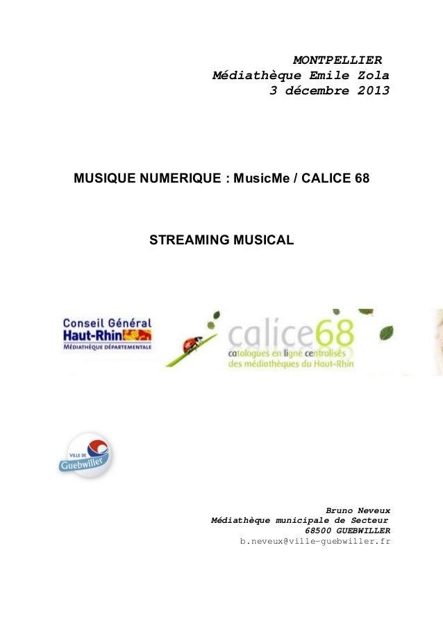 MONTPELLIER Médiathèque Emile Zola 3 décembre 2013  MUSIQUE NUMERIQUE : MusicMe / CALICE 68  STREAMING MUSICAL  Bruno Neve...