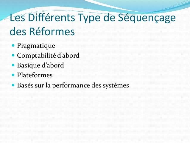 Les Différents Type de Séquençage des Réformes  Pragmatique  Comptabilité d'abord  Basique d'abord  Plateformes  Basé...
