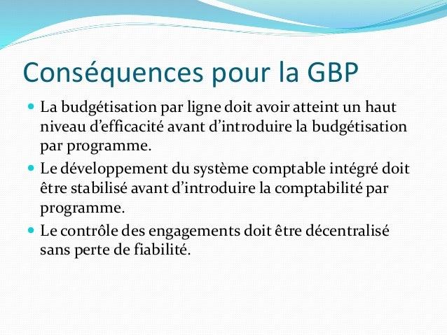 Conséquences pour la GBP  La budgétisation par ligne doit avoir atteint un haut niveau d'efficacité avant d'introduire la...