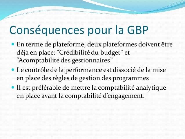 """Conséquences pour la GBP  En terme de plateforme, deux plateformes doivent être déjà en place: """"Crédibilité du budget"""" et..."""