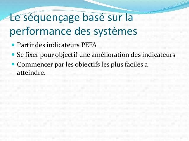 Le séquençage basé sur la performance des systèmes  Partir des indicateurs PEFA  Se fixer pour objectif une amélioration...
