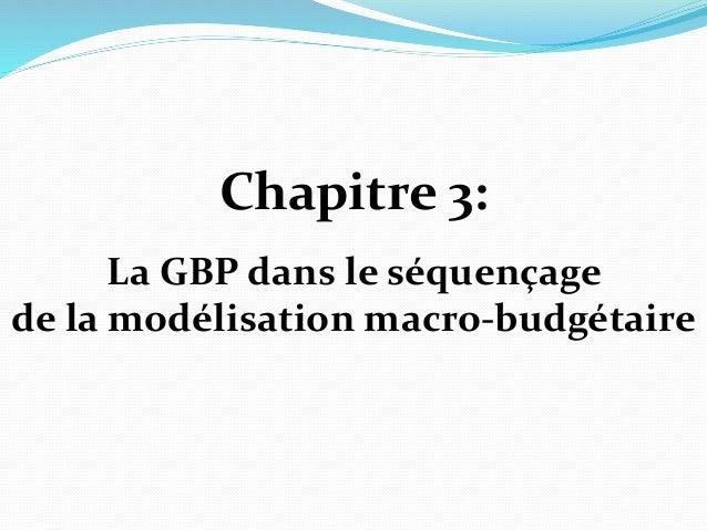 Chapitre 3: La GBP dans le séquençage de la modélisation macro-budgétaire