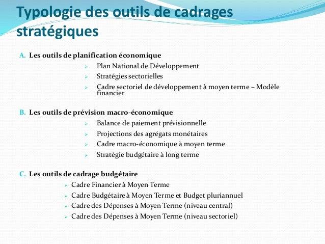 Typologie des outils de cadrages stratégiques A. Les outils de planification économique  Plan National de Développement ...