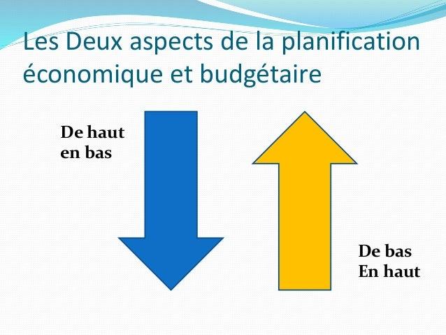 Les Deux aspects de la planification économique et budgétaire De haut en bas De bas En haut