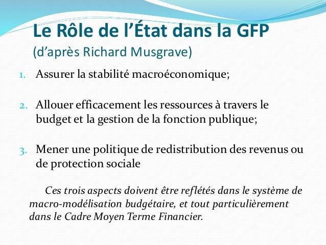 Le Rôle de l'État dans la GFP (d'après Richard Musgrave) 1. Assurer la stabilité macroéconomique; 2. Allouer efficacement ...