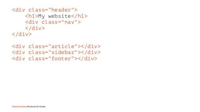 """<div class=""""header""""> <h1>My website</h1> <div class=""""nav""""> </div> </div> <div class=""""article""""></div> <div class=""""sidebar"""">..."""
