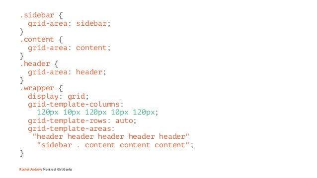.sidebar { grid-area: sidebar; } .content { grid-area: content; } .header { grid-area: header; } .wrapper { display: grid;...