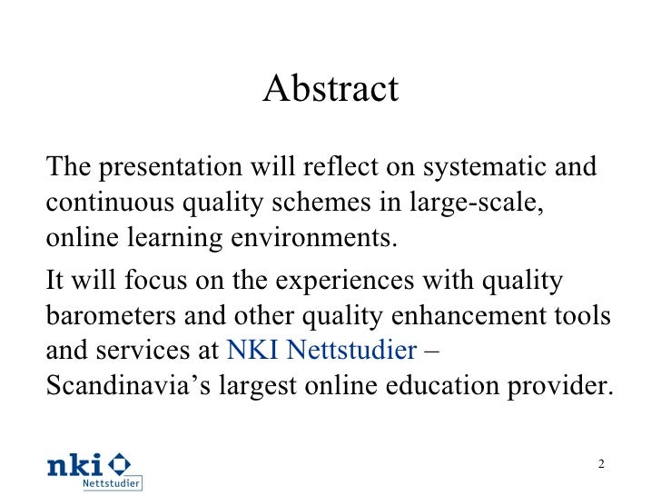 Quality schemes in cooperative learning environments Slide 2