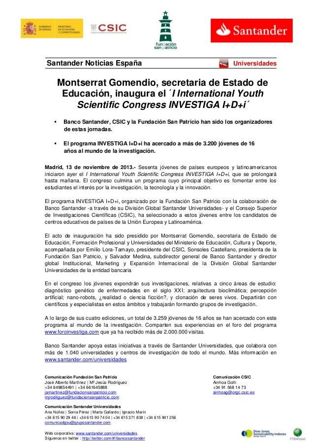 Santander Noticias España  Universidades  Montserrat Gomendio, secretaria de Estado de Educación, inaugura el ´I Internati...