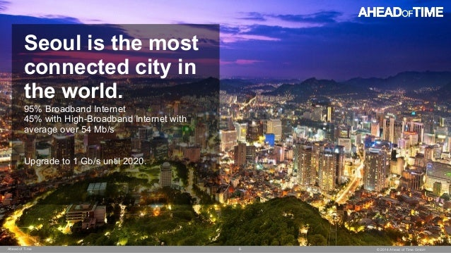 © 2014 Ahead of Time GmbHAhead of Time 6 Seoul is the most connected city in the world. 95% Broadband Internet 45% with Hi...