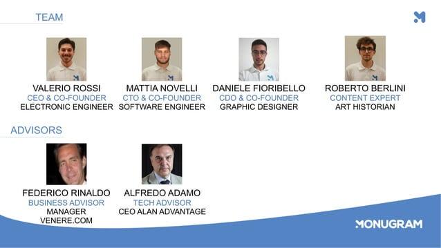 VALERIO ROSSI CEO & CO-FOUNDER ELECTRONIC ENGINEER MATTIA NOVELLI CTO & CO-FOUNDER SOFTWARE ENGINEER DANIELE FIORIBELLO CD...