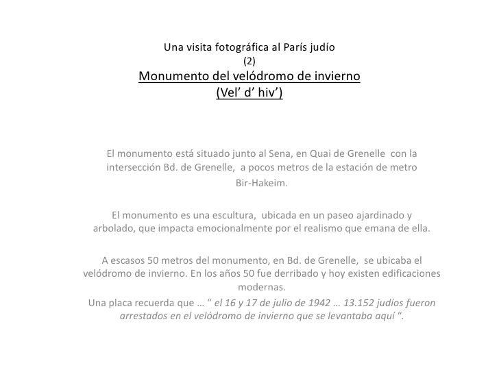 Una visita fotográfica al París judío                                   (2)            Monumento del velódromo de invierno...