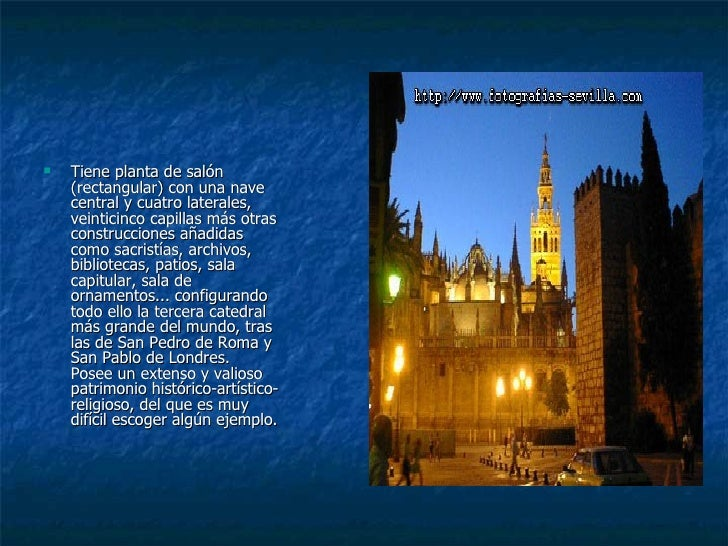 <ul><li>Tiene planta de salón  (rectangular) con una nave  central y cuatro laterales,  veinticinco capillas más otras  co...