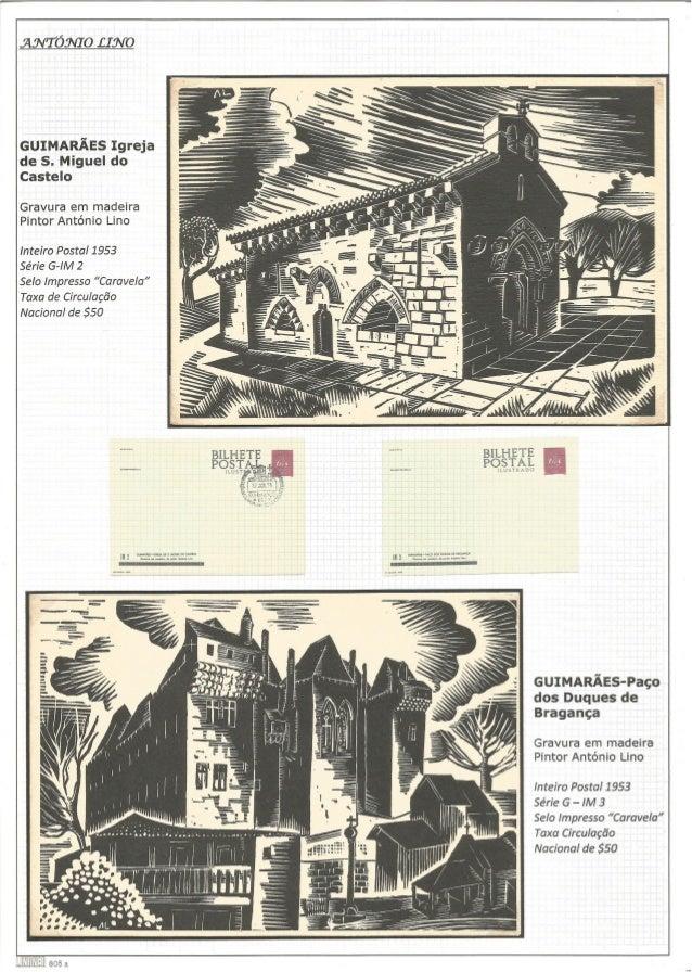 """GUIMARÃES-Paço dos Duques de Bragança  Gravura em madeira Pintor António Lino Inteiro Postal 1953  Selo Impresso """"Caravela..."""