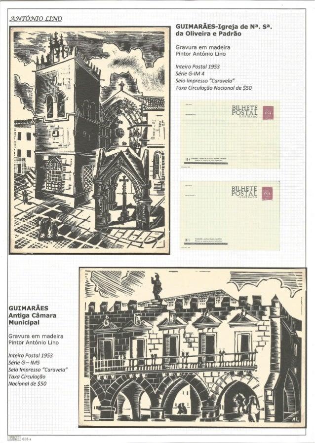 GUIMARÃES-Igreja de Na.  sa.  da Oliveira e Padrão  Gravura em madeira Pintor António Lino  Inteiro Postal 1953  Série G-I...