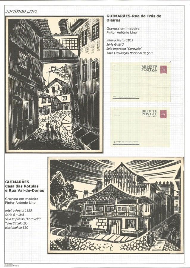 mvTóNIO LINO  GUIMARÃES-Rua de Trás de Oleiros  Gravura em madeira Pintor António Lino  Inteiro Postal 1953  Série G-IM 7 ...