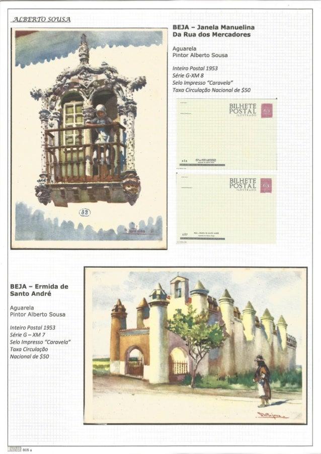 .ÃLÍBTRTO 50715.71  BEJA - Janela Manuelina Da Rua dos Mercadores  Aguarela Pintor Alberto Sousa  Inteiro Postal 1953  Sér...