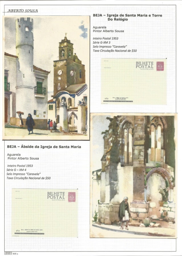 "ABÍRT O SOUSA     n?  r  ) l ; í "" 1                        BEJA - Ábside da Igreja de Santa Maria  Aguarela Pintor Albert..."