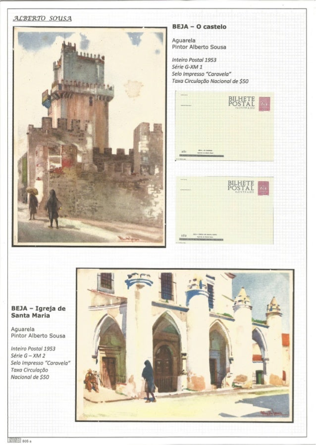 ".ALBERTO SOUSA BEJA - O castelo  Aguarela Pintor Alberto Sousa  inteiro Postal 1953  Série G-XM 1  Selo Impresso ""Caravela..."