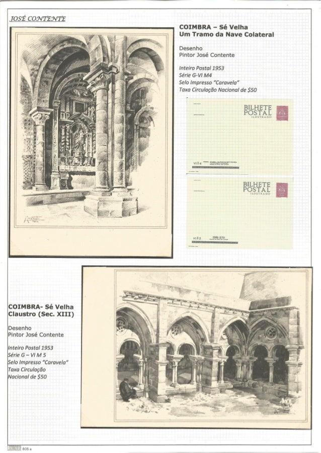 """COIMBRA- Sé Velha Claustro (Sec.  XIII)  Desenho Pintor José Contente  Inteiro Postal 1953 érie G - VI M 5 elo impresso """"C..."""