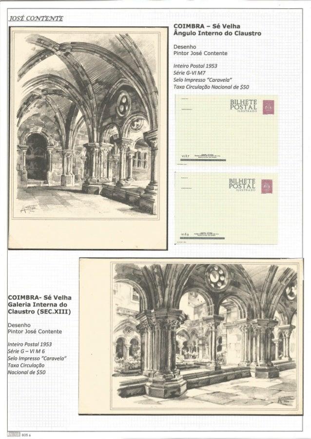 [así cowrzovtrz  COIMBRA- Sé Velha Galeria Interna do Claustro (SEC. XIII)  Desenho Pintor José Contente  Inteiro Postal 1...