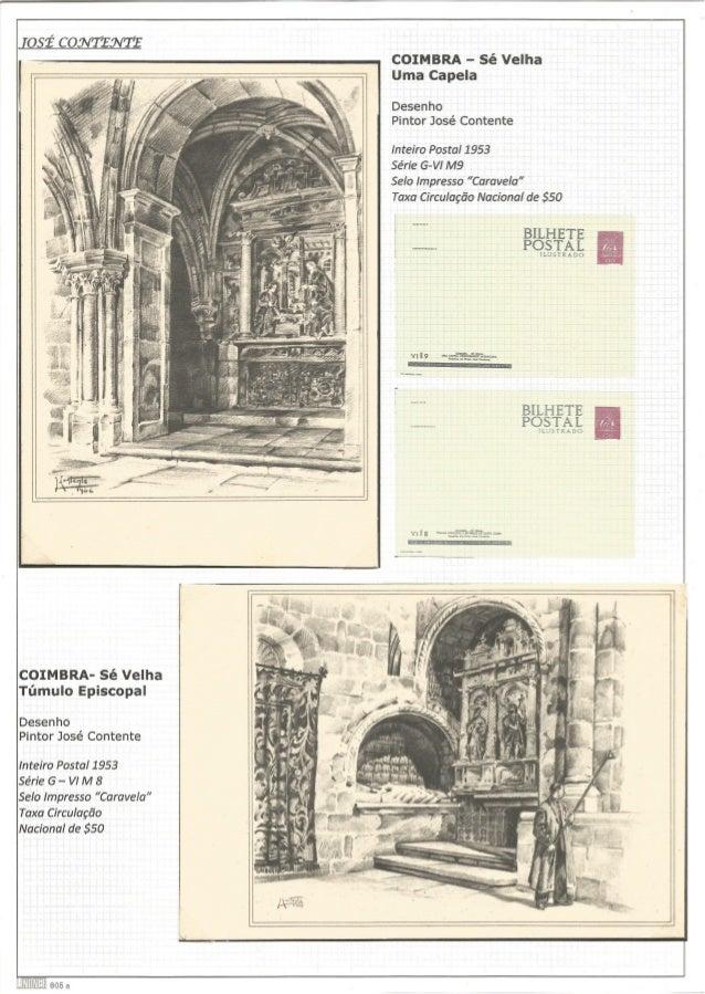 :así Commons  COIMBRA- Sé Velha Túmulo Episcopal  Desenho Pintor José Contente  inteiro Postal 1953  Série G - VI M 8  Sel...