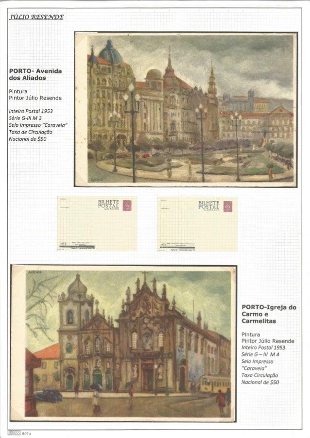 111210 eeseavee  PORTO- Avenida dos Aliados  Pintura Pintor Júlio Resende  Inteiro Postal 1953  Série G-lll M 3  Selo Impr...