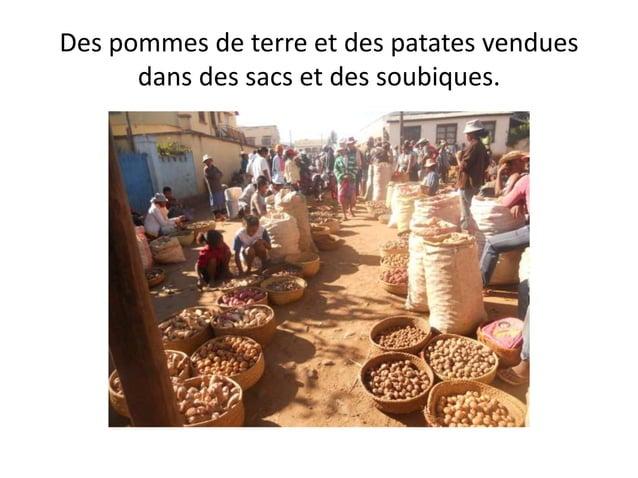 Des pommes de terre et des patates vendues dans des sacs et des soubiques.