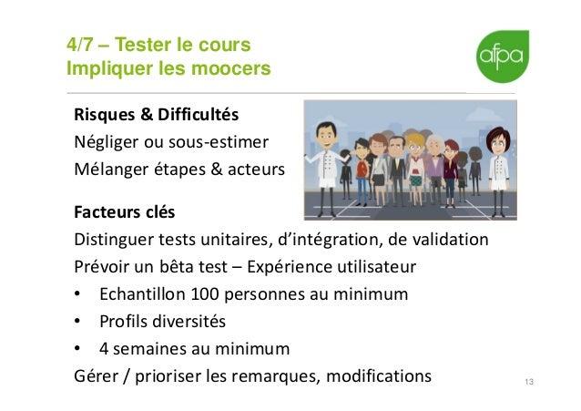 4/7 – Tester le cours Impliquer les moocers 13 Risques & Difficultés Négliger ou sous-estimer Mélanger étapes & acteurs Fa...