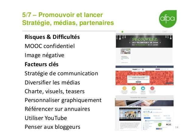 5/7 – Promouvoir et lancer Stratégie, médias, partenaires 14 Risques & Difficultés MOOC confidentiel Image négative Facteu...