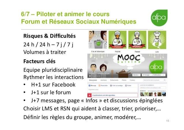 6/7 – Piloter et animer le cours Forum et Réseaux Sociaux Numériques 15 Risques & Difficultés 24 h / 24 h – 7 j / 7 j Volu...