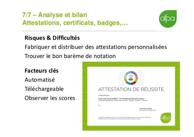 7/7 – Analyse et bilan Attestations, certificats, badges,… 18 Risques & Difficultés Fabriquer et distribuer des attestatio...