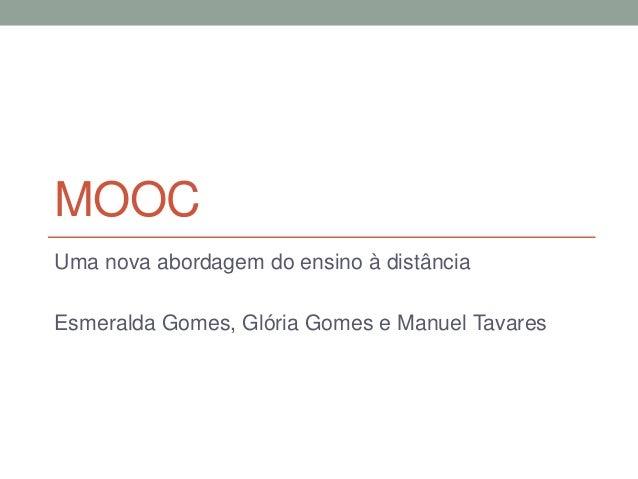 MOOC Uma nova abordagem do ensino à distância Esmeralda Gomes, Glória Gomes e Manuel Tavares