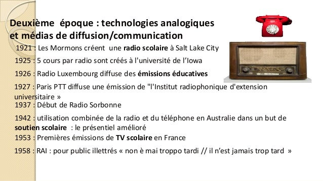 Deuxième époque : technologies analogiques et médias de diffusion/communication 1937 : Début de Radio Sorbonne 1925 : 5 co...