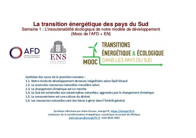 La transition énergétique des pays du Sud Semaine 1 : L'insoutenabilité écologique de notre modèle de développement (Mooc ...